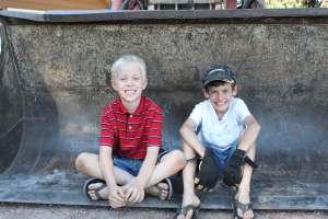Boys in tractor bucket SD