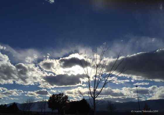Light behind clouds