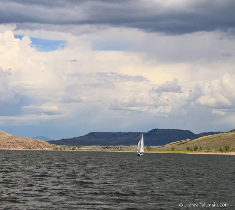 Sailboat under gray skies