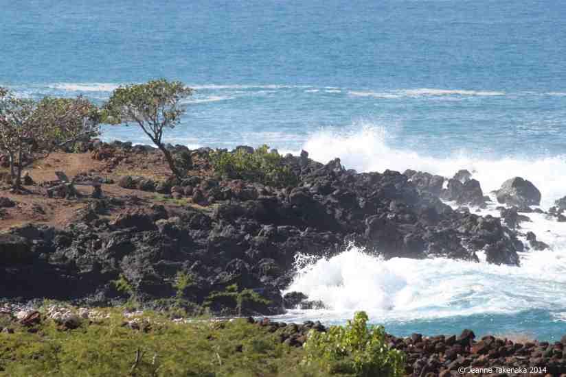Black rocks and waves