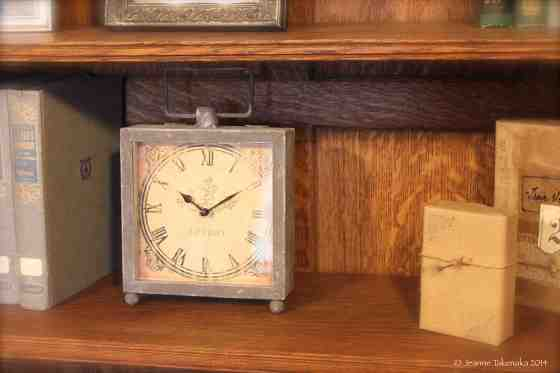Clock on shelf