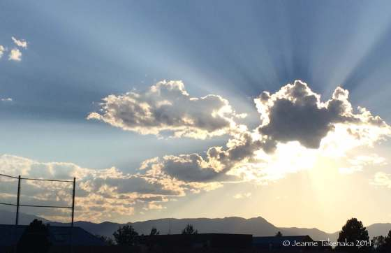 Sunrays behind clouds