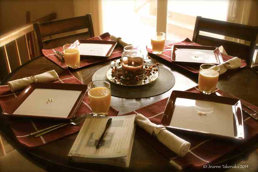A table set for Thanksgiving breakfast