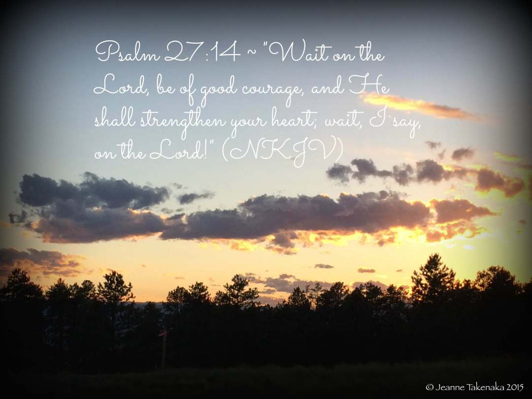 "Meme: ""Psalm 27:14—'Wait on the Lord, be of good courage, and He shall strengthen your heart; wait, I say, on the Lord!' (NKJV)"" on a backdrop of trees silhouetted by a sunset."