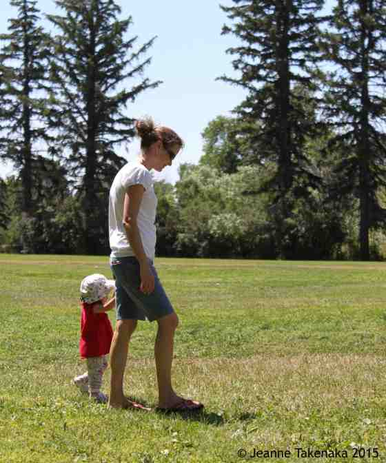 Mom walking with child