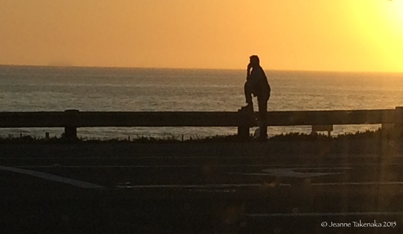 The silhouette of a man staring at the ocean at sunset