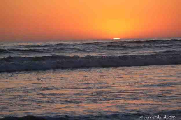 Sunset on waves