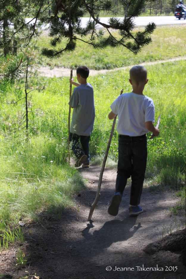 Yellowstone boys hiking 2