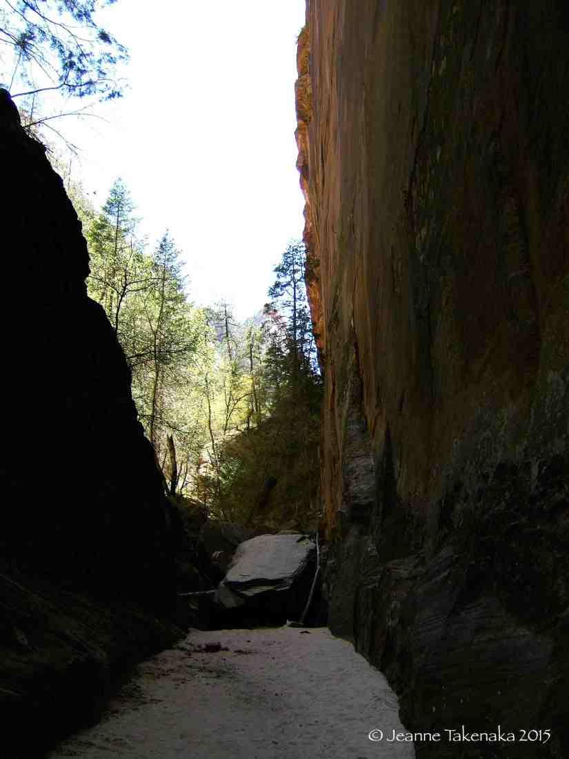 Zion hiking between rocks