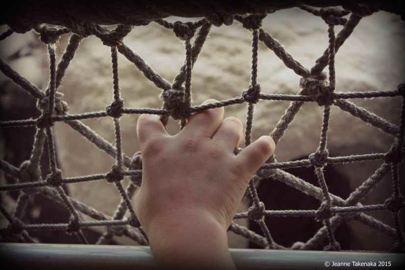 An image of a small hand holding onto a fence made of knotted rope