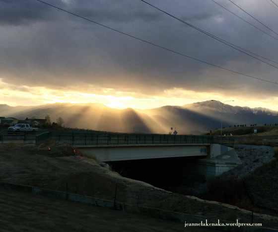 Sunbeams under clouds
