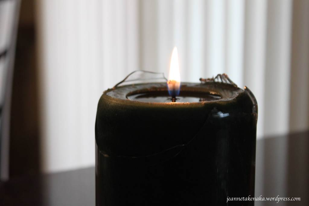 Broken candle, strong flame copy
