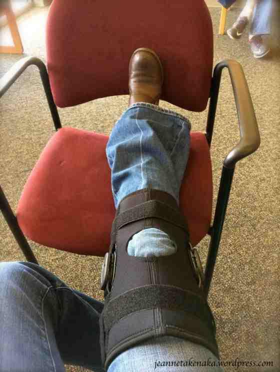 Sporting the knee brace