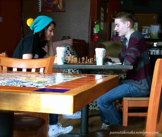 Teens connecting over chess