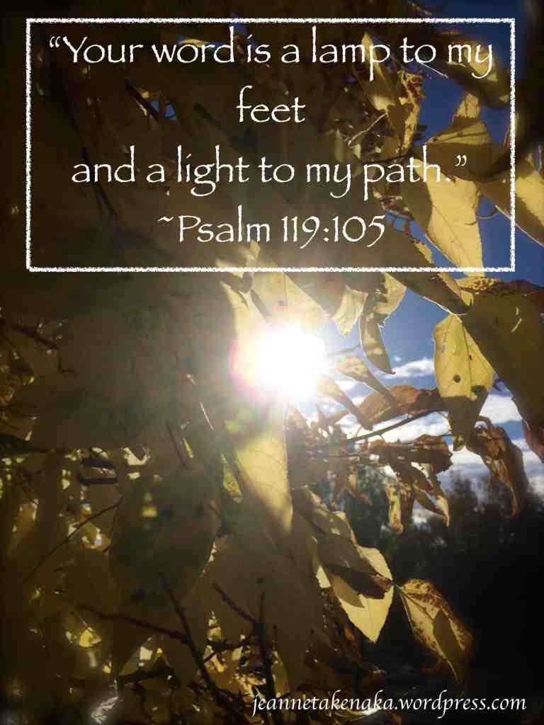 "Meme with Psalm 119:105—""Your word s a lamp to my feet and a light to my path."""