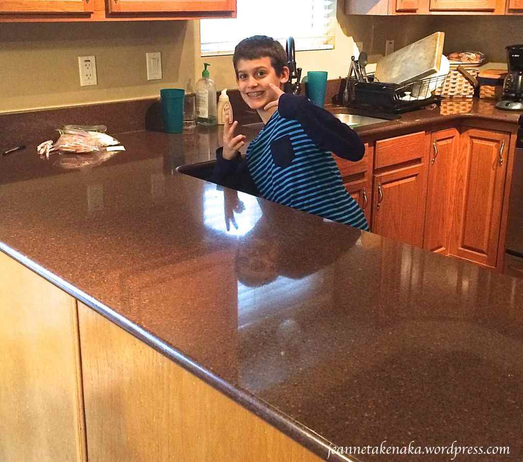 Peter near clean counter