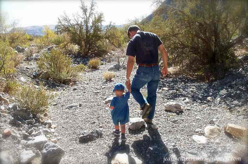 A man holding the hand of a very young boy walking a rocky path