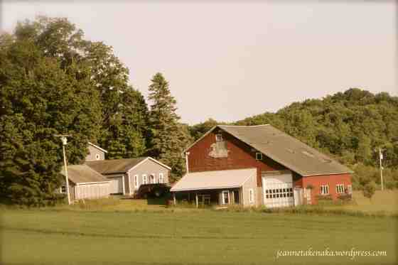 Red barn with missing color