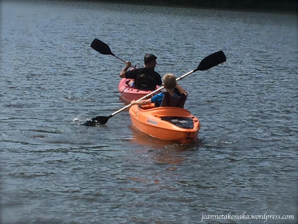 Father-son kayaking