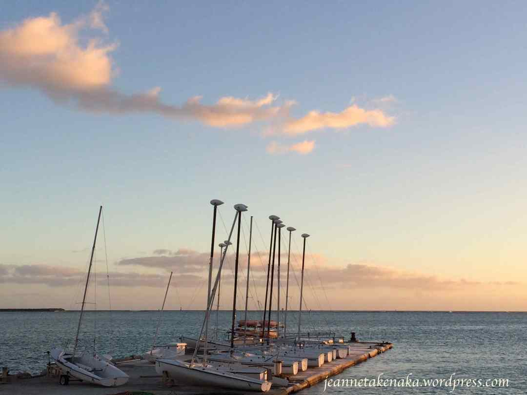 Picture at sunset of sailboats sitting on a dock at sunset