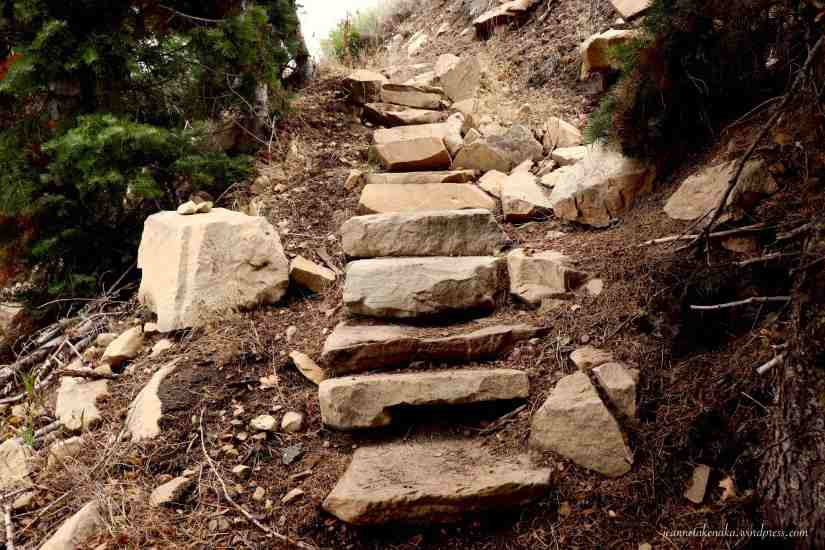 Large stones creating steps to walk up a hill