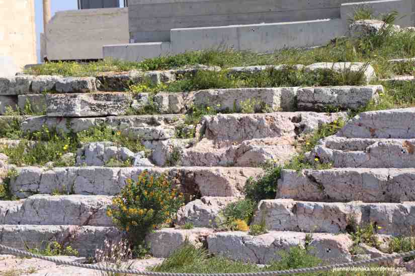 Ancient stone steps leading upward and with wildflower growing amid the cracks
