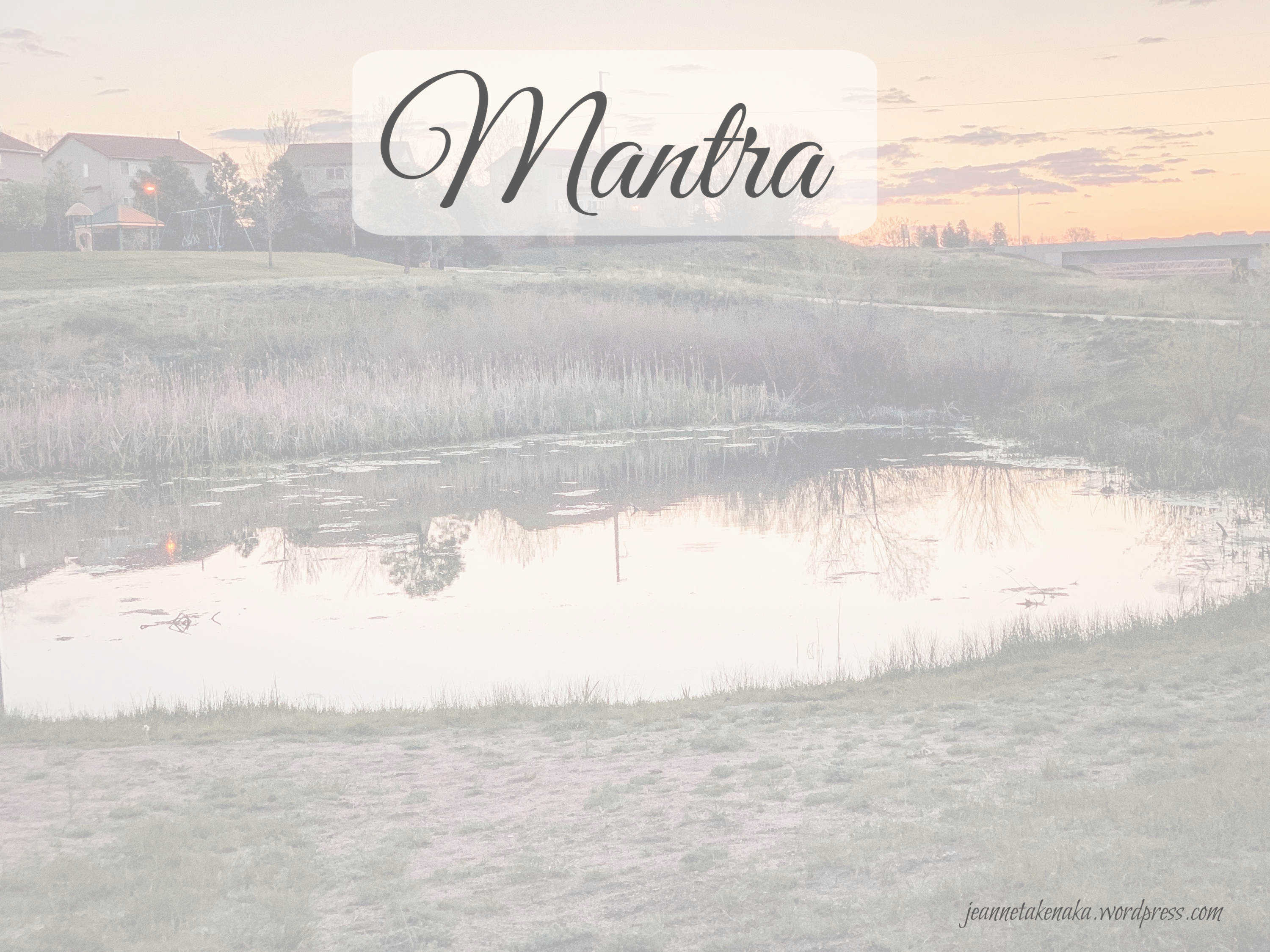 """Meme that says """"Mantra"""" on a backdrop of a pond"""
