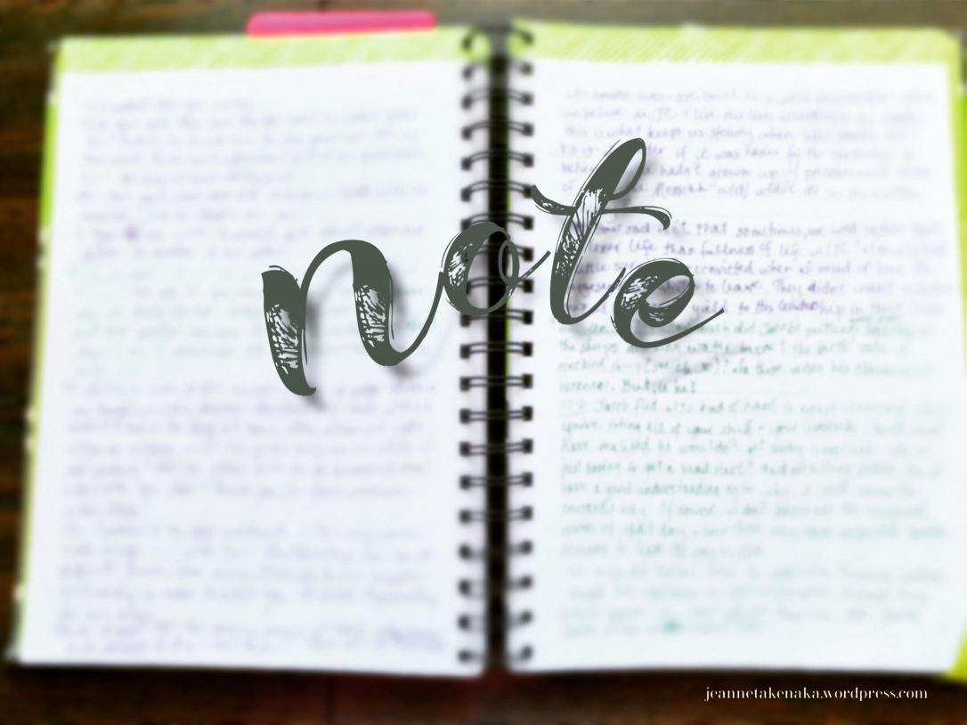 "Meme with the word, ""Note"" super imposed on a journal with words on it"