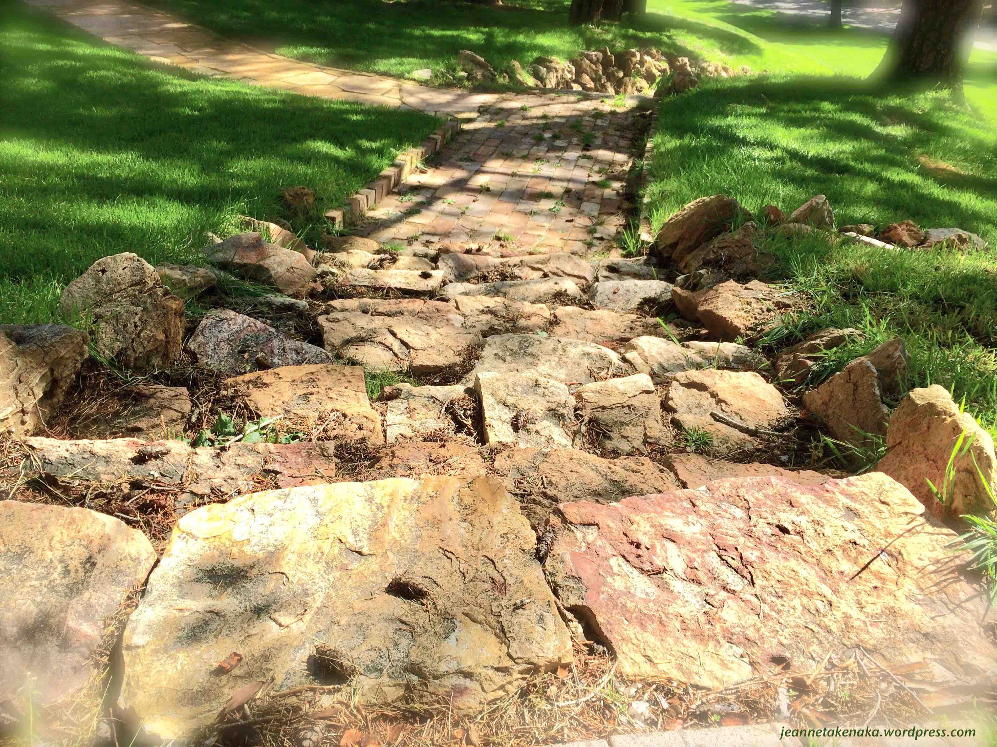 Photo of a rock-paved path