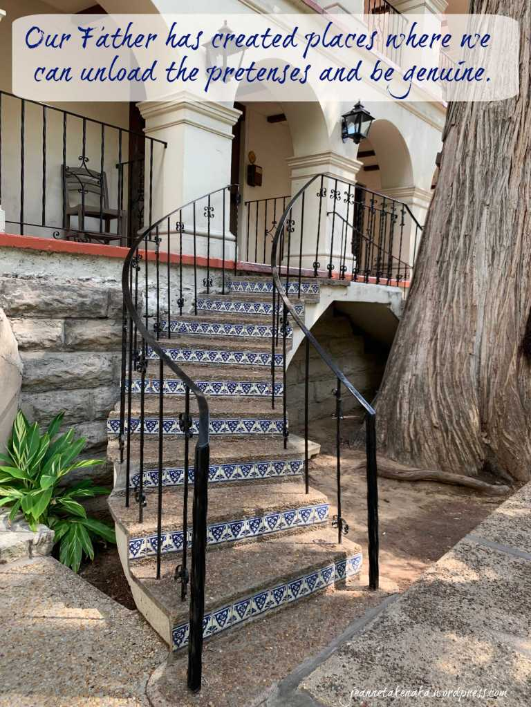 """Meme that says: """"Our Father has created places where we can unload the pretenses and be genuine."""" with a backdrop of mosaic steps leading up to an arched entryway"""