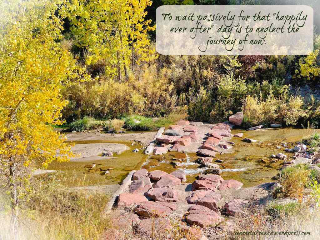 """Meme with the words: """"To wait passively for that 'happily ever after' day is to neglect the journey of now."""" on a picture with a stream and trees with leaves starting to change to autumn colors."""