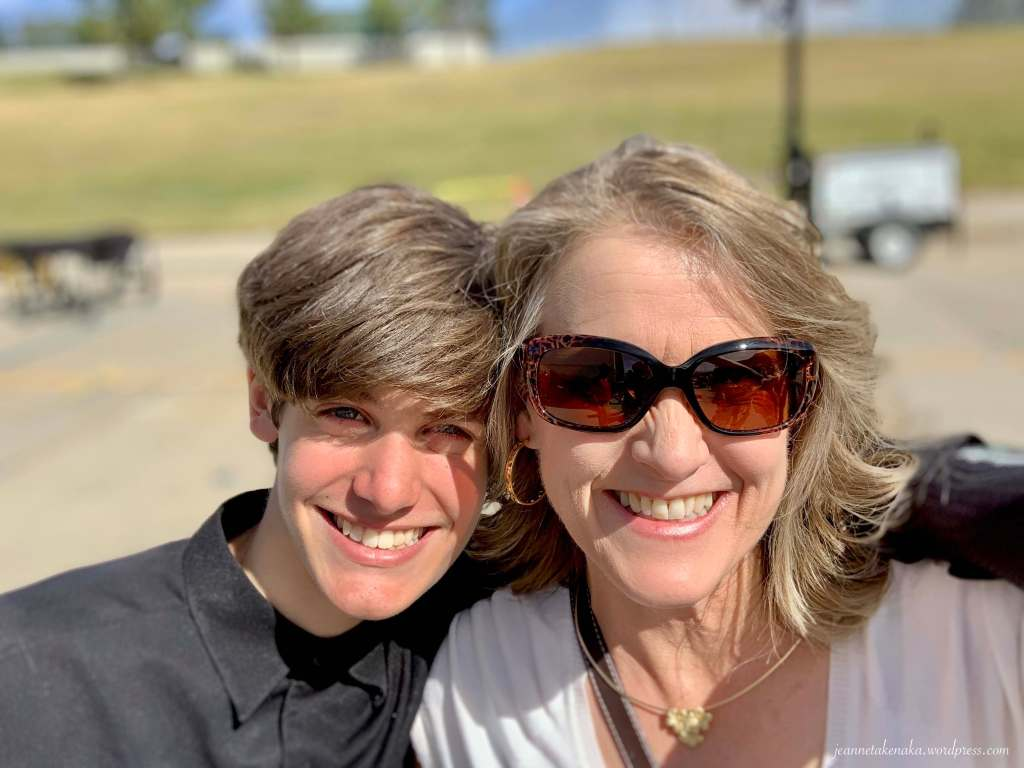 The author with one of her sons