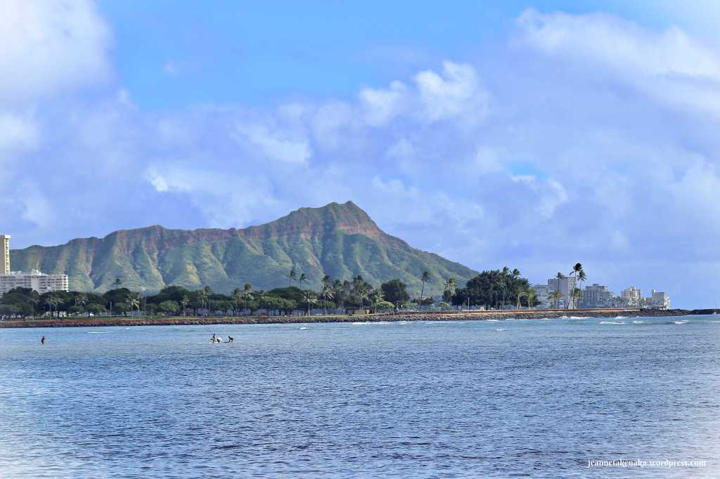 Image of Diamond Head in Hawaii on a partly cloudy day