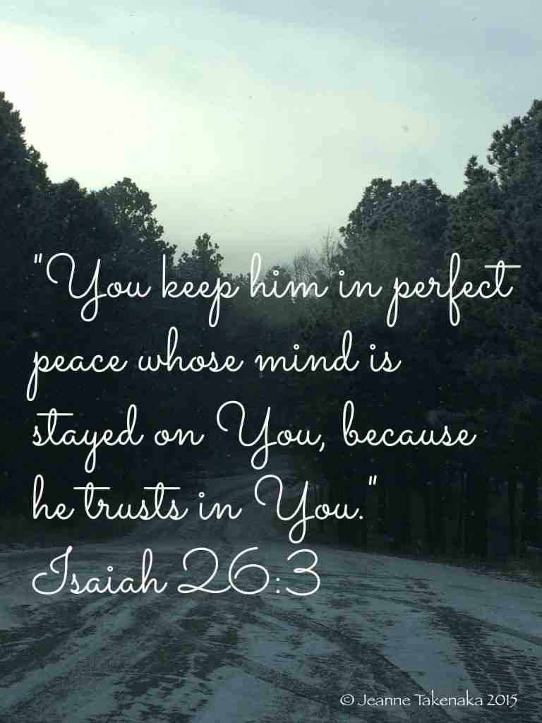 "Meme with the words, ""You keep him in perfect peace whose mind is stayed on You, because he trusts in You."" ~Isaiah 26:3 on a backdrop of a snowy road framed in by dark pine trees"