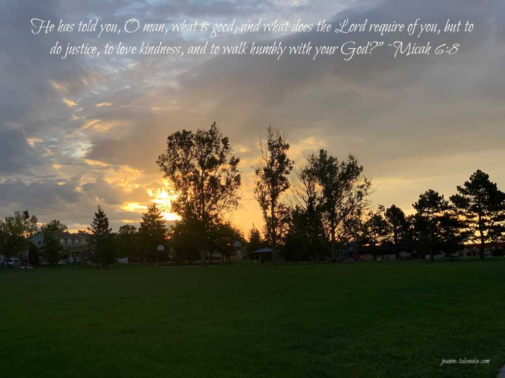 "Meme with the words: ""He has told you, O man, what is good, and what does the Lord require of you, but to do justice, to love kindness, and to walk humbly with your God?"" ~Micah 6:8 on a backdrop of the sunrise silhouetting trees"