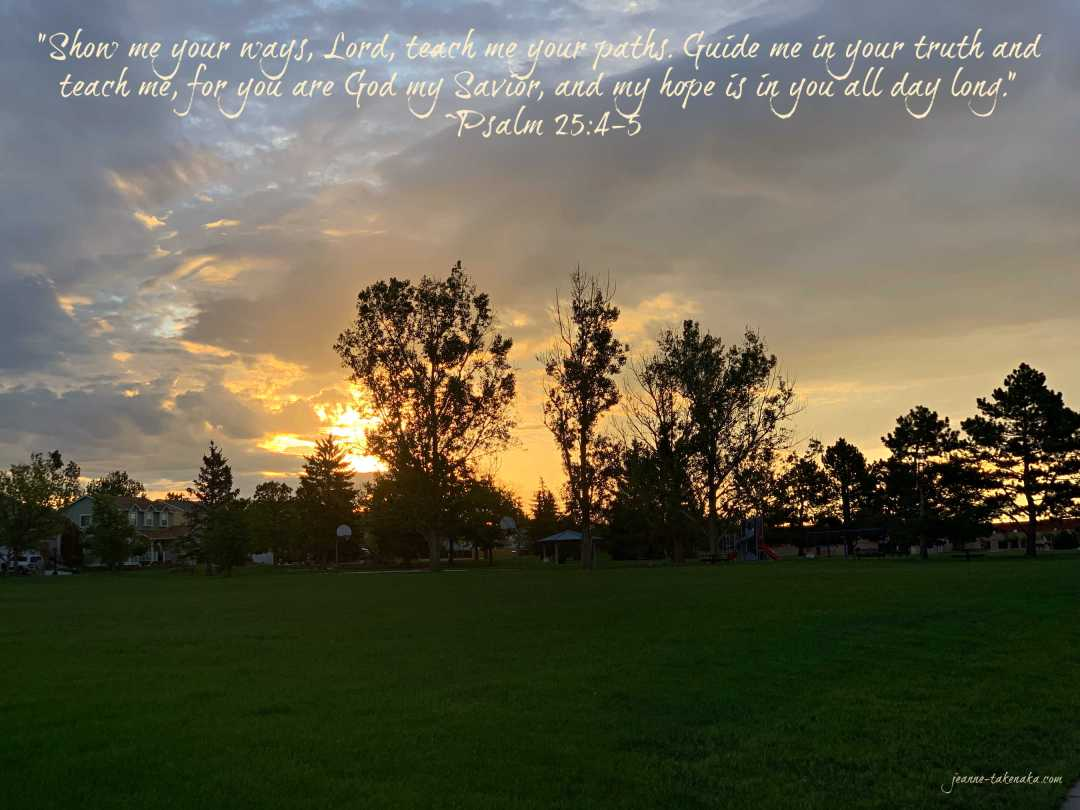"Meme with the words: ""Show me your ways, Lord, teach me your paths. Guide me in your truth and teach me, for you are God my Savior, and my hope is in you all day long."" ~Psalm 25:4-5 on a backdrop of sunrise colors silhouetting tall trees in a park"